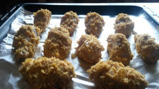 Пилешки бутчета с корнфлейкс
