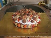 Торта с ягоди , банани и череши