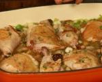 Пилешки бутчета с праз и гъби   5