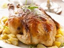 Пълнено пиле с ориз и зеленчуци