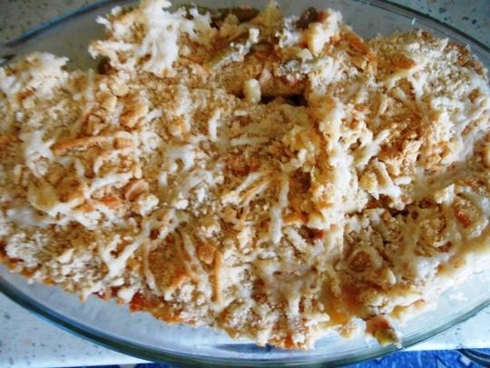 Мусака от зелен боб и варени картофи