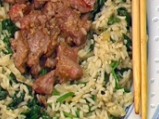 Телешко със сусам, спанак и ориз
