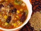 Кафяв ориз с червен фасул и царевица