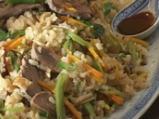 Свински език със соев сос и ориз