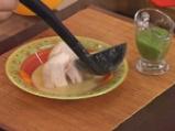 Пилешко варено с крем супа от царевица и зелен сос 7