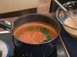 Крем супа от домати с пилешки сърчица 7