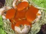 Медальон от заек върху канапе от нуели