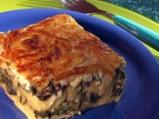Качамак-мусака със спанак и печурки