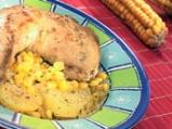 Пиле с картофи и царевица
