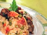 Пилешки дробчета с грах и ориз