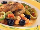 Пилешка яхния с маслини и нахут