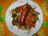 Пияна наденица със зеленчуци
