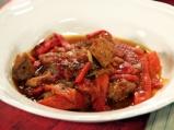Свинско с печени чушки и лук по гръцки