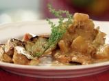 Пиле по нормандски с гарнитура от печ...