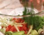 Маринован сафрид със зеленчуци и пикантни крутони 3