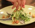 Маринован сафрид със зеленчуци и пикантни крутони 7