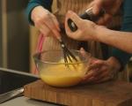 Фритата с бекон, грах и макарони 5