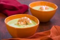 Супа от грах с кисело мляко и скариди