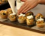 Спаначени мъфини с шапка от сирене 8