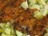 Хрупкави пилешки кълки с картофи