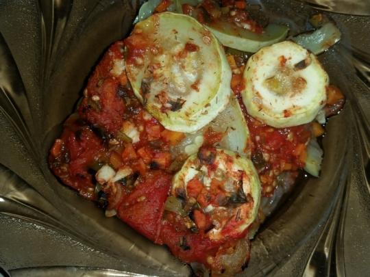Тиквички и патладжани с домати