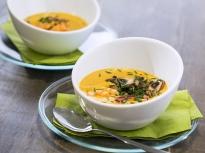 Супа от тиква със скариди и бекон