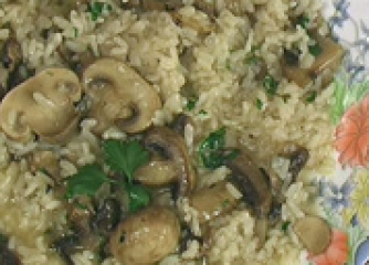 Ориз с гъби на микровълнова фурна