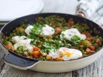 Яйца с грах и бекон