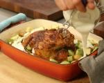 Печено пиле с пресни картофи 4