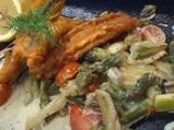 Ватос с къри и рагу от аспержи