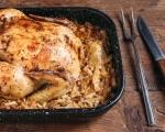 Пълнена кокошка с ориз Балдо и бекон върху кисело зеле 11