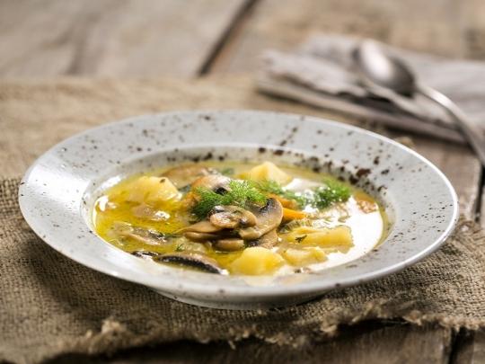 Гъбена супа с картофи и праз