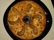 Кекс без яйца с компот от праскови