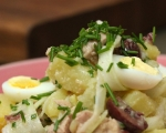 Салата от картофи, яйца и дроб от треска 8