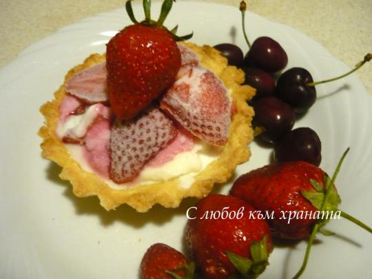 Тарталети със сладолед и ягоди