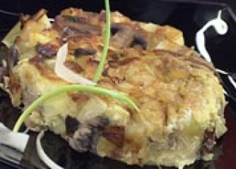 Тортиля с праз и печурки