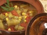 Супа от бамя с царевица и домати
