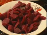 Шарен боб с кървавица и чекане (цвекло) 2