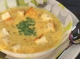 Супа от червена леща с млечна застройка