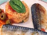Скумрия плакия с ориз и домати
