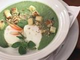 Спаначена крем супа със забулени яйца...