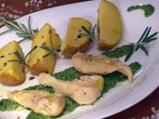 Пиле в зелен сос с тиквено семе