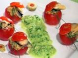 Пълнени чери домати с миди и пастет о...