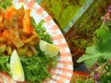 Салата от зелен фасул с доматен винегрет