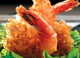 Скариди темпура с корнфлейкс