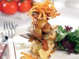 Милфьой от пресни картофи и чипс от риба
