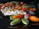Скумрия на пара с торнирани зеленчуци