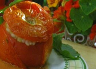 Пълнени домати с ризото от тиквички