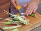 Фритиран лаврак в темпура върху дует на ориз и зеленчуци 2