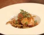 Заек с доматен сос и пържени гъби 5
